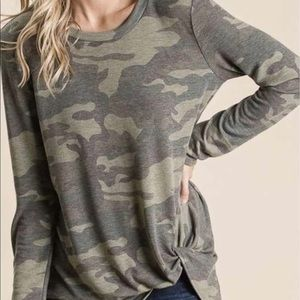 Camo knotted top